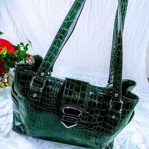 Handbag medium size womens purse green shoulder